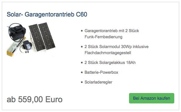 Solar- Garagentorantrieb C60